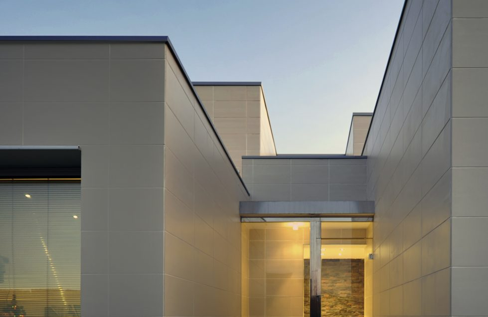 aqso fragmented house tiles night view entrance roof terrace