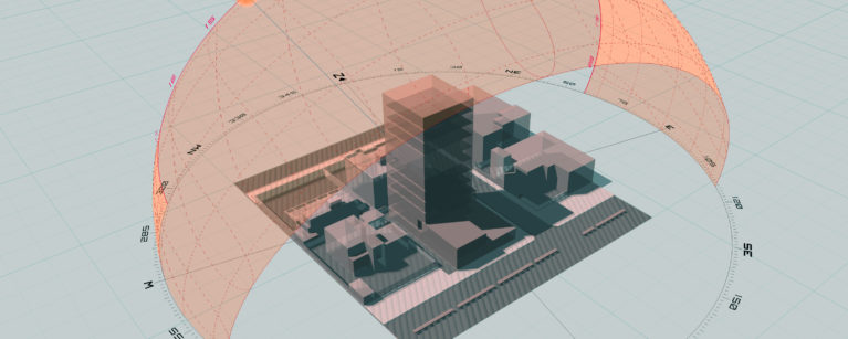 AQSO arquitectos office. Sun study for a tower in Sudan using SunPath 3D. Calculation of shadows, sun position and angles.