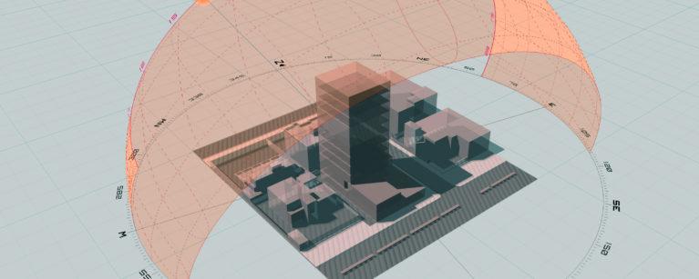AQSO arquitectos office. Estudio del sol para una torre en Sudán usando SunPath 3D. Cálculo de sombras, posición del sol y ángulos.