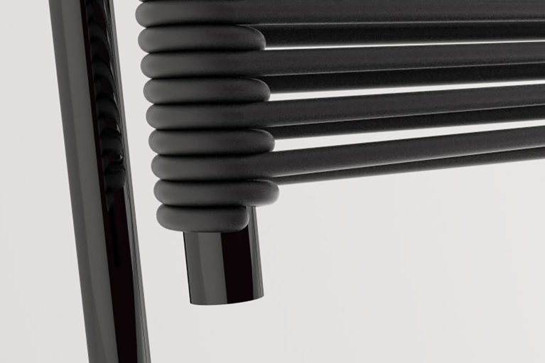 aqso arquitectos office, carola furniture series, black rubber wire, connection detail, perforation on metal tube, back chair detail, matte and glossy black finish