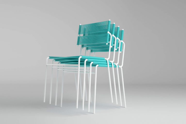 aqso arquitectos office, carola furniture series, stackable chairs design, terrace furniture, outdoor, turquoise blue and white frame, fresh design, smart system, piled on top of one another