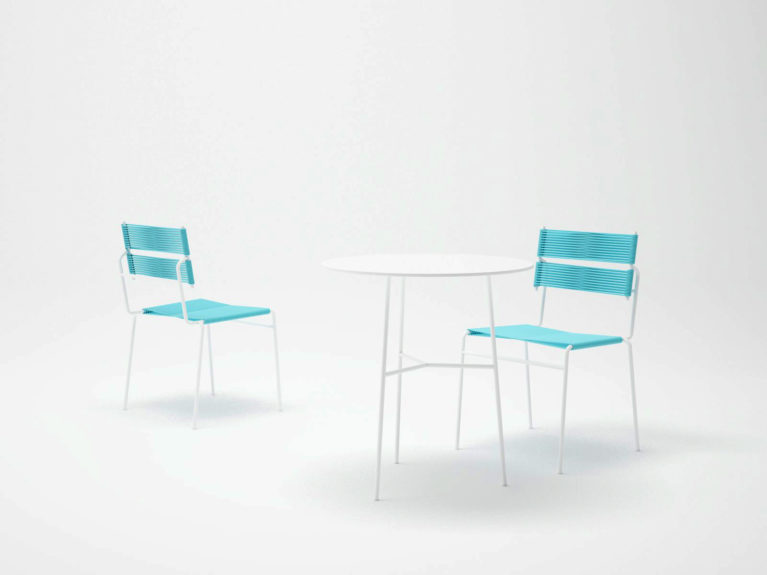 aqso arquitectos office, carola furniture series, white outdoor furniture set, dinning table, lounge chair, dining chair, white and blue palette, beach style, casual design, smart system, comfy chairs