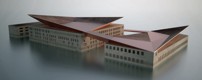 aqso aquitectos office, physical model, timber, museum, copper roof, top terrace, restoration, contemporary shape, angles, pitch roof, gesture, promenade