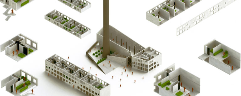 aqso arquitectos office, exploded axonometric, public building, concrete facade, dublin, restoration, ballymun, apartments, student accommodation, exhibition space, public plaza