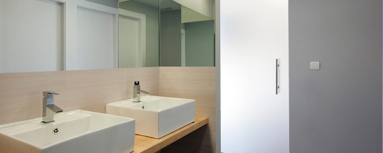 minimal, mirror, modern, quality, square, translucent-glass-door, washbasin, wooden-counter