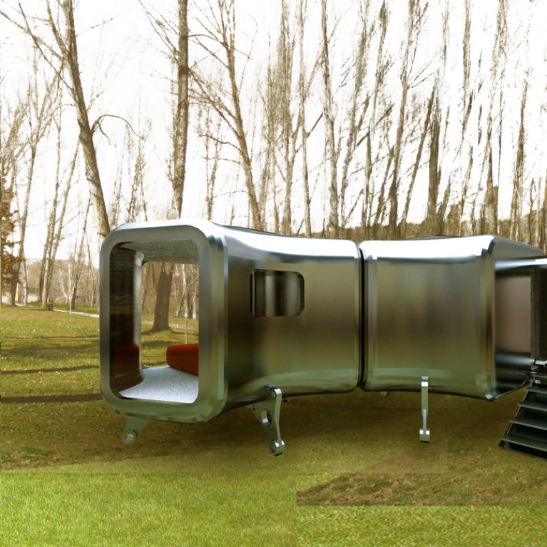 aqso arquitectos office, nest shelters, exterior view, steel shell, prototype, adjustable legs, temporary pavilion, modular design, experimental, futuristic