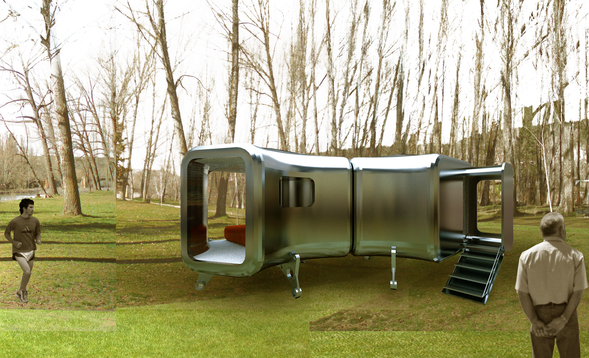 AQSO Nest shelters, exterior view, stell shell, prototype with adjustable legs