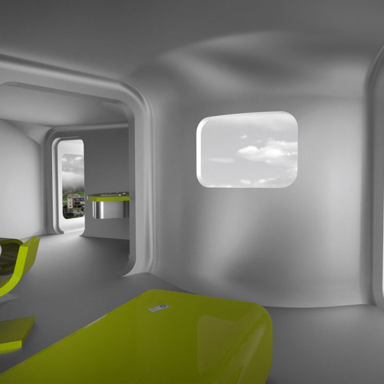 aqso arquitectos office, nest shelters, case or shell made in polyester, prototype, experimental design, modular architecture, prefabricated container, temporary solution, futuristic design