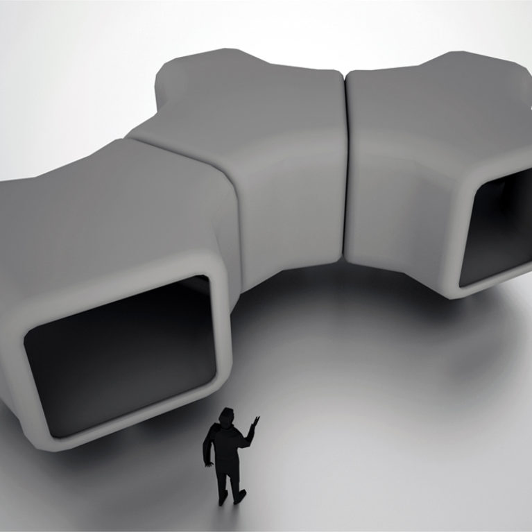 arquitectos office, nest shelters, physical model, prototype, modular, units, assemble, aluminium, plastic, triangle, connector, y-shaped
