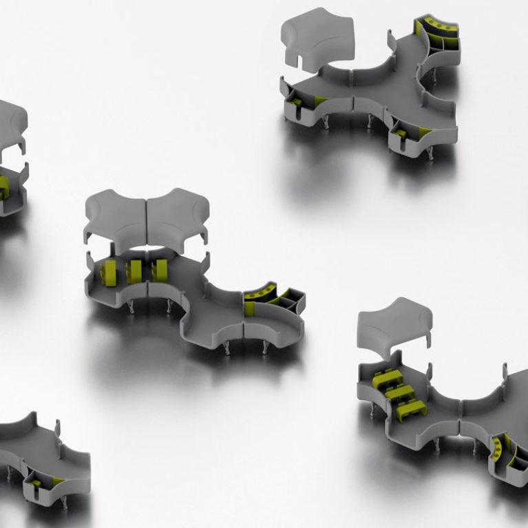 aqso arquitectos office, nest shelters, modular, typologies, arrangements, pavilions, plastic, model, axonometric view, space planning, options, pattern