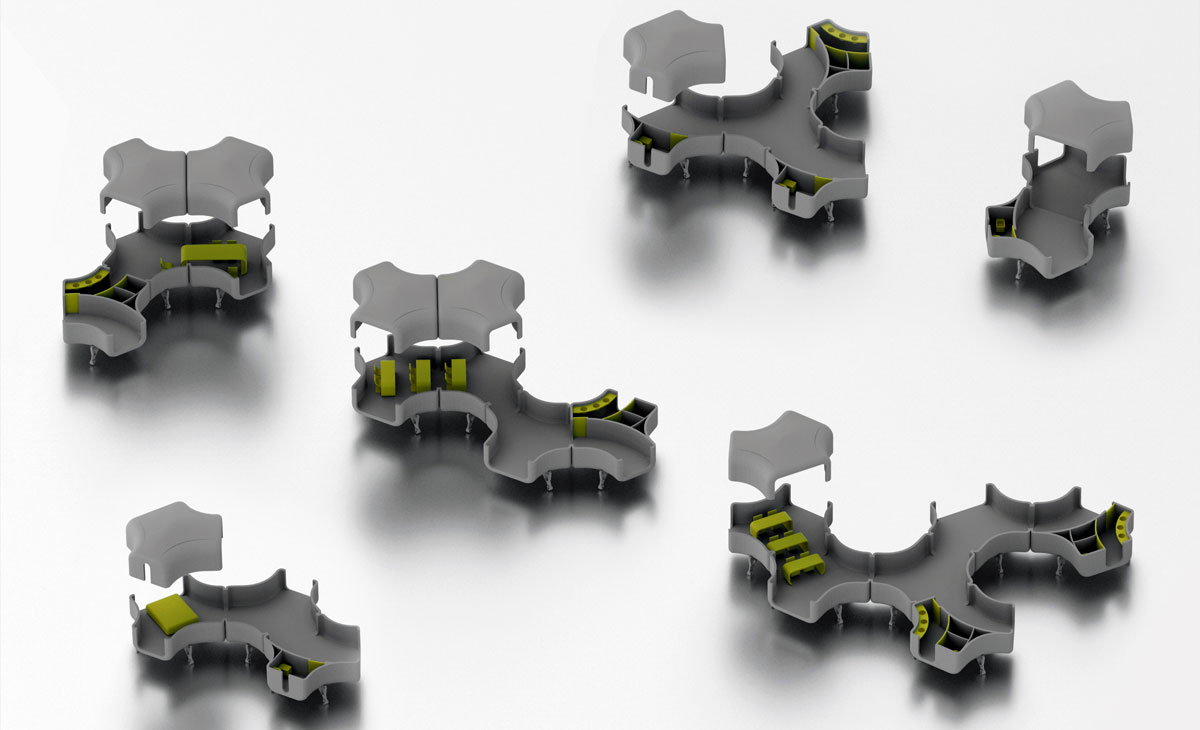 AQSO Nest shelters, typologies and series, different options for assembly, axonometric view