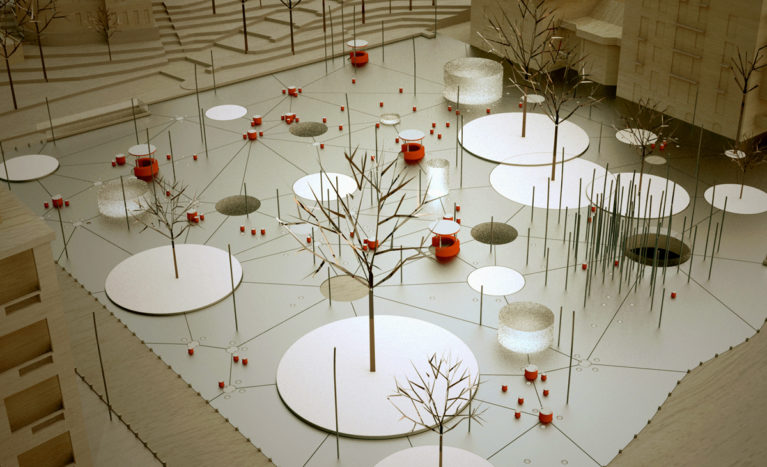 AQSO arquitectos office. Slatina square, physical model made in balsa wood or basswood, contour lines and circular shapes, polka dots
