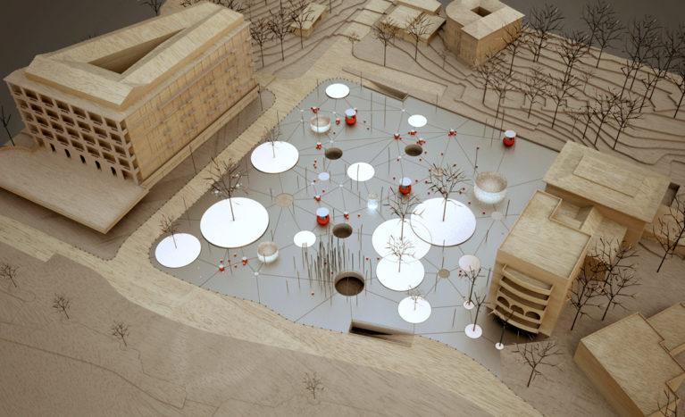 AQSO Slatina square, physical model, balsa wood, aluminium, circles, polka dots, trees, sea front, parking, public seats, holes