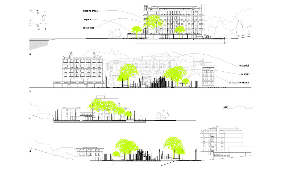 aqso arquitectos, slatina square, sections and elevations, underground carpark, urban design, urban setting, facades, street lights, trees