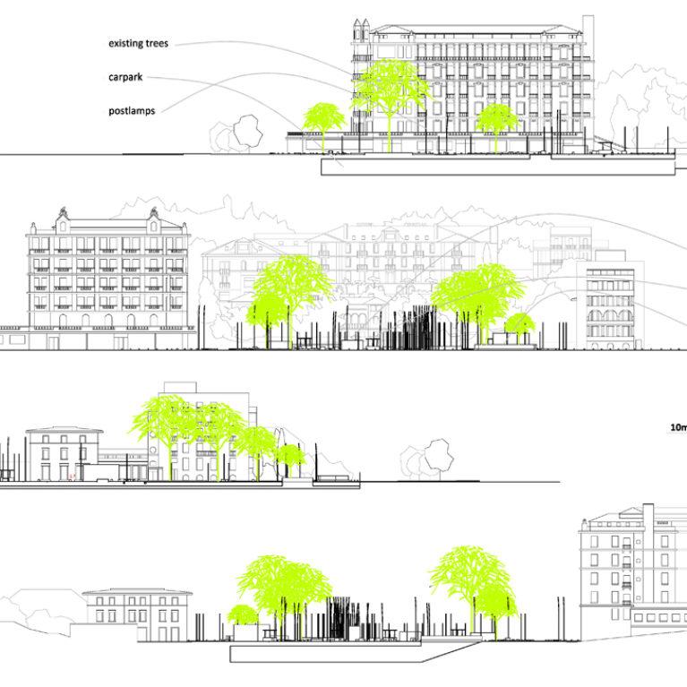 AQSO arquitectos, slatina square, sections and elevations, underground carpark, urban design, urban setting, facades, street lights, trees