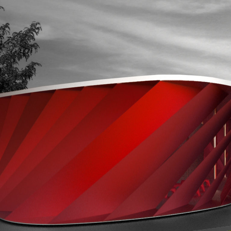 AQSO woven stand, exterior, pavilion, stretch fabric, gill shape, overlapped, red cloth, temporary architecure