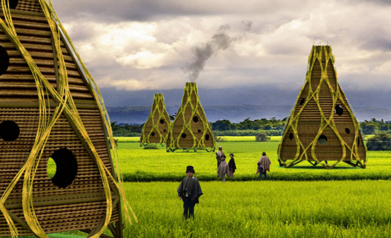 AQSO Harvest home, experimental house, bamboo, green field, Cauca, landscape, fireplace, sustainable, ecologic