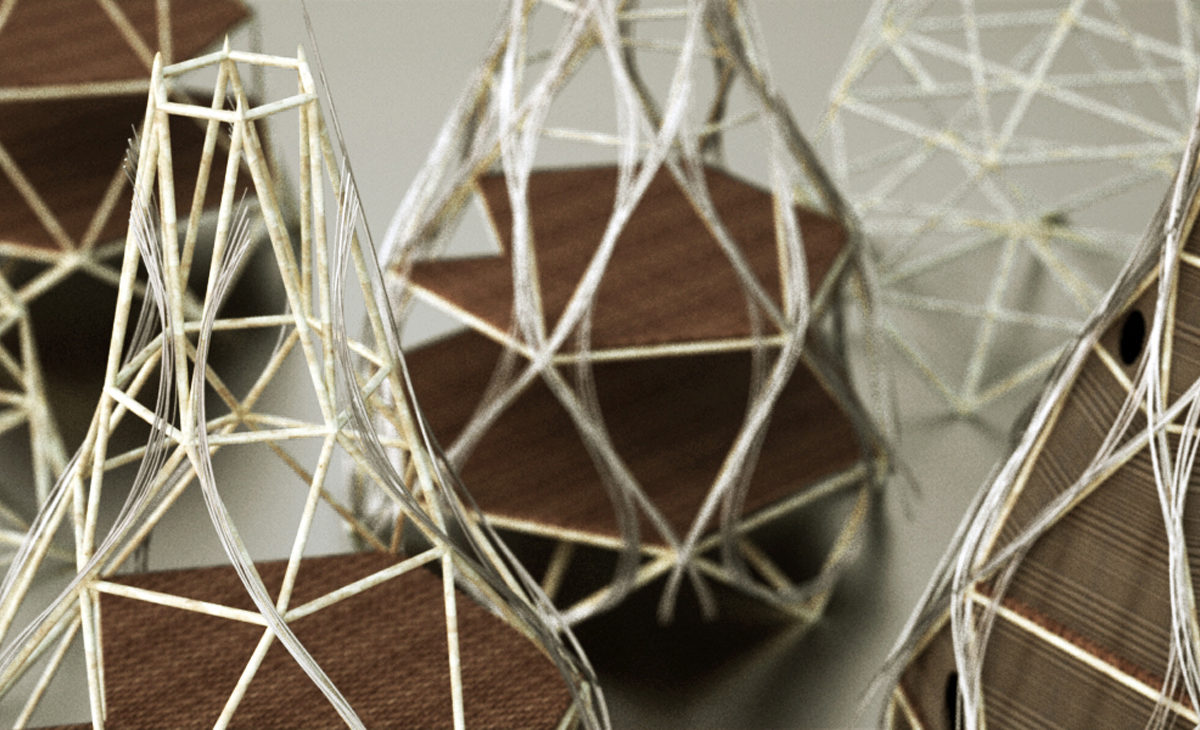 AQSO Harvest home, self-fab house, prototype, physical model, wires, balsa wood, close- up