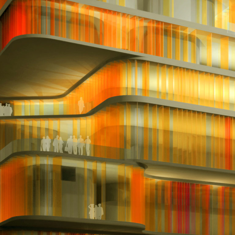 AQSO arquitectos office. The façade of this public building is made of coloured glass louvres. The floor slabs on each floor are free-form and form balconies and overhangs.