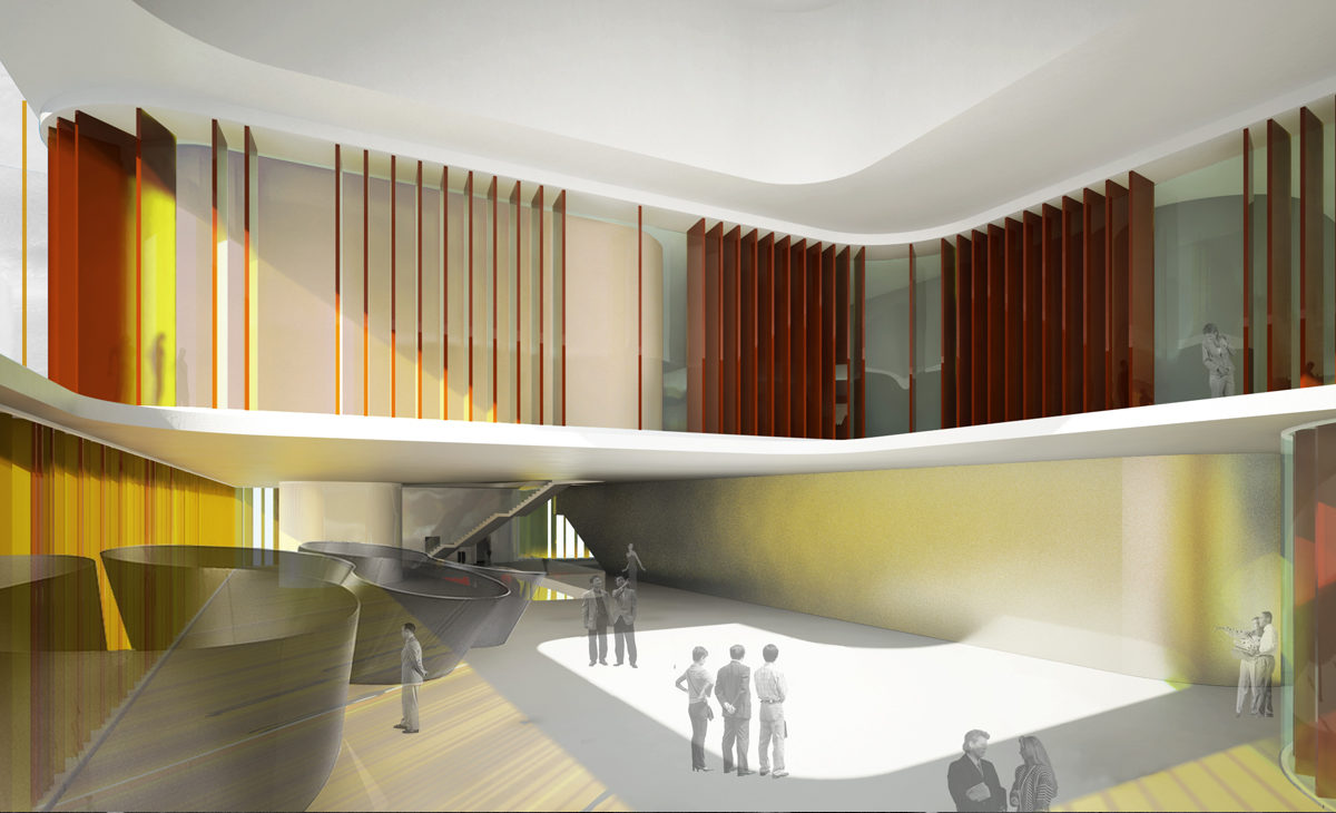AQSO house of arts and culture, interior view, double height space, louvers