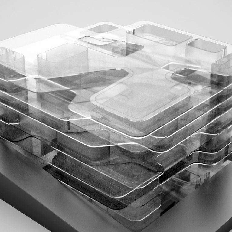 AQSO arquitectos office. Conceptual model of the House of Arts, a public cultural building dedicated to music and art. Physical model or mock-up made in methacrylate with rounded shapes.