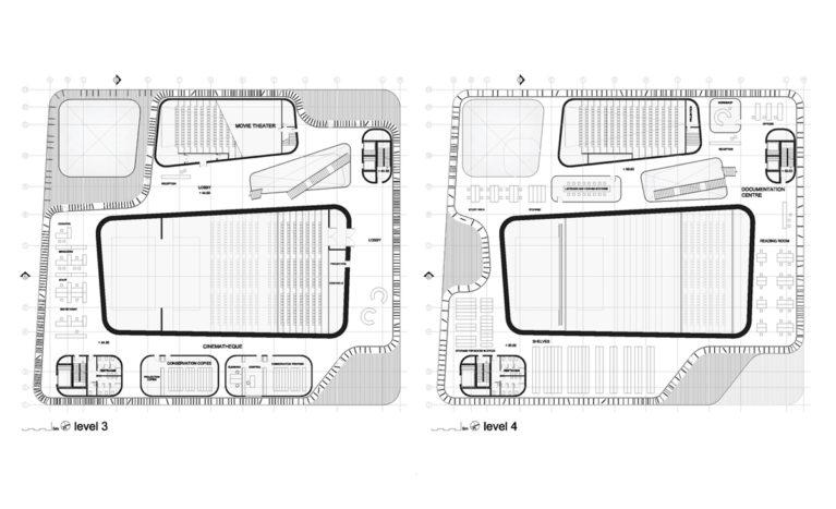 AQSO arquitectos office. Planos de la casa de las artes, donde se ve la sala central del auditorio, el teatro, la cinemateca, las salas de lectura y la biblioteca. La piel del edificio forma ondas y envuelve los forjados con lamas.