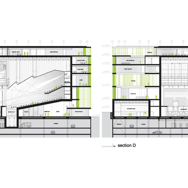 AQSO arquitectos office. Sección del edifico público que contiene biblioteca, sala de exposiciones y teatro. La sala del auditorio se sitúa en el corazón del edificio, cuya fachada tiene lamas de cristal.