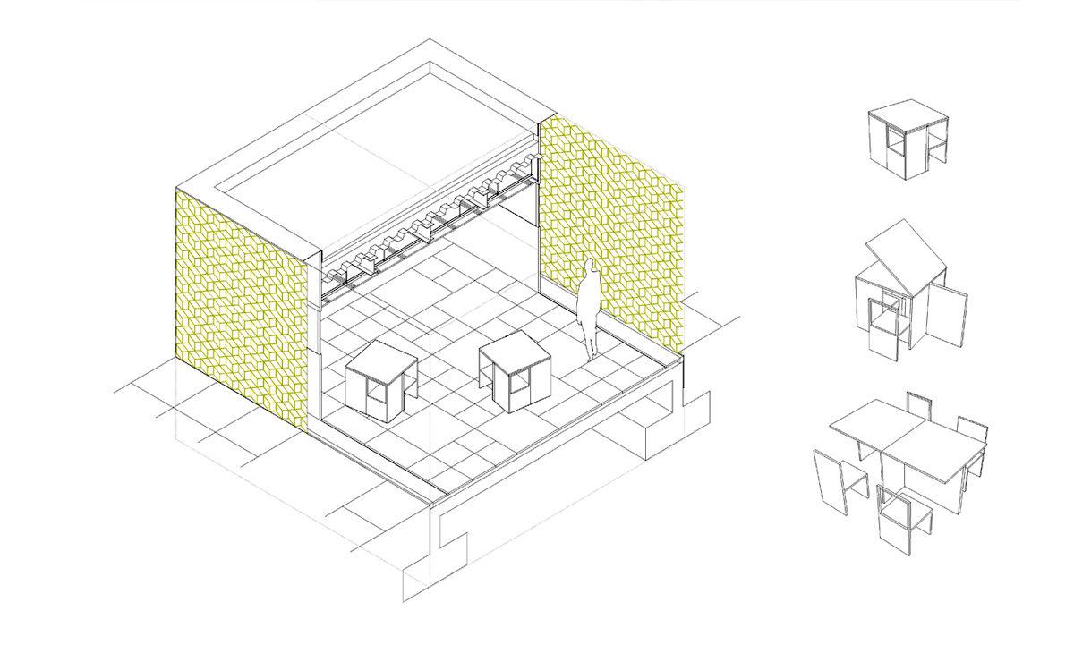 AQSO cubic fractal museum, construction detail, axonometric, modular furniture