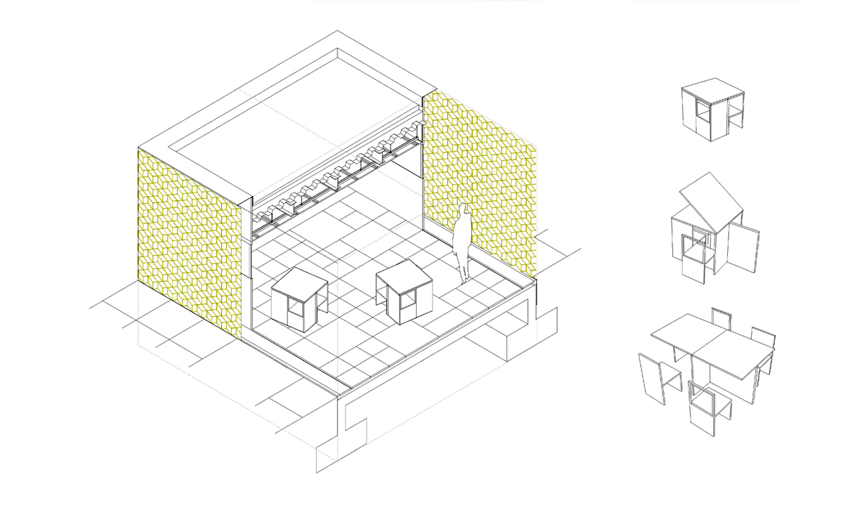 AQSO cubic fractal museum, construction detail, axonometric, modular furniture