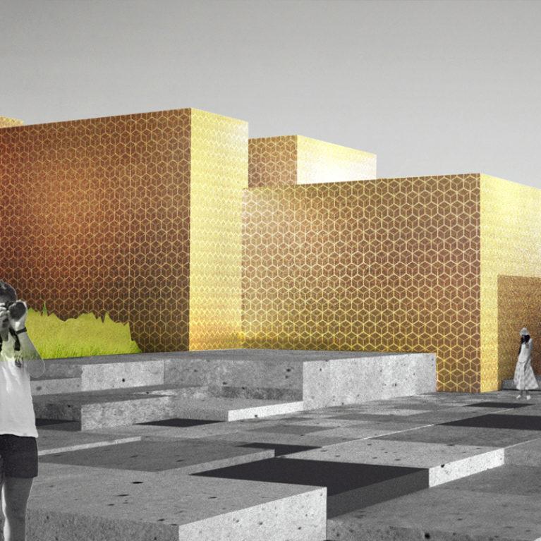 AQSO cubic fractal museum, bright facade, tiles, cubo, ceramic, pattern, boxy, entrance, maze, golden, concrete