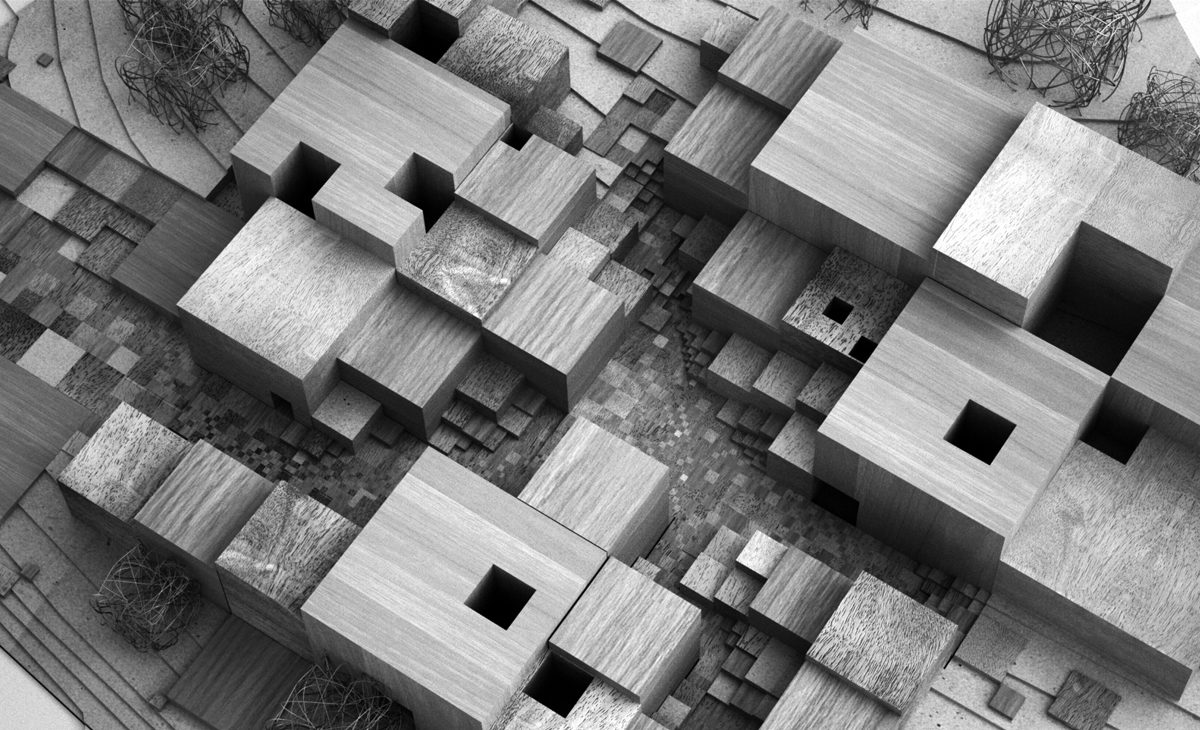 AQSO cubic fractal museum, wooden physical model, maze, puzzle, abstract geometry