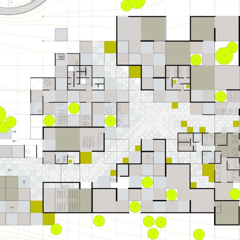 AQSO cubic fractal museum, plan, technical drawing, maze, tetris, fractal, grid,