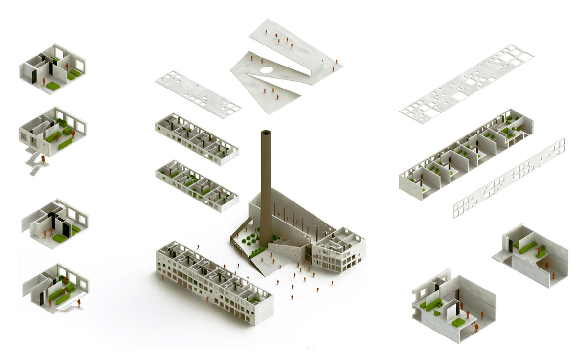 AQSO Boilerhouse studios, exploded axonometric view, isometric projection, components, residential units, ramp, roof, chimney