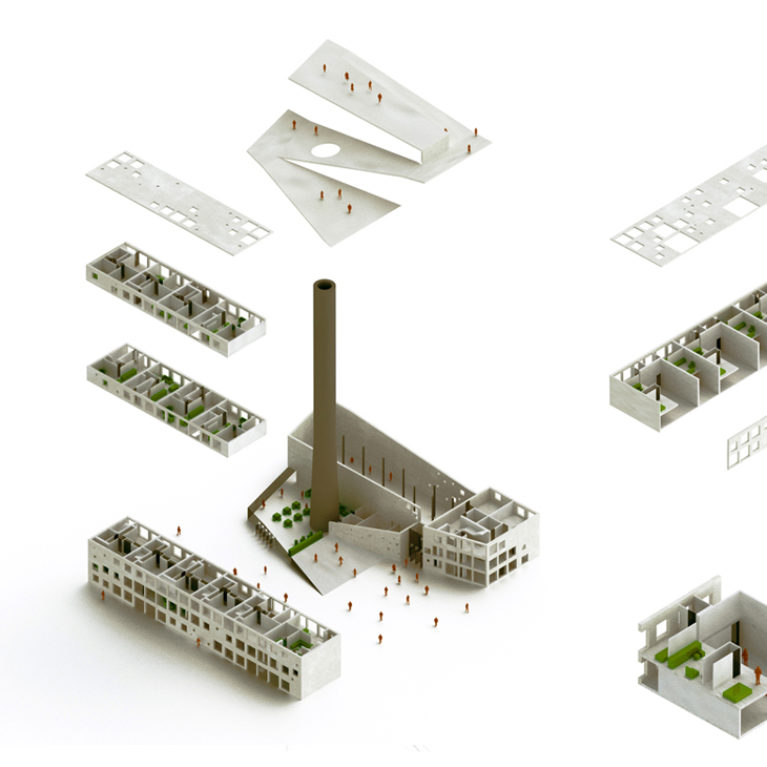 AQSO arquitectos office. Este diagrama conceptual es una vista axonométrica explotada donde se ven los apartamentos, la sala de exposiciones y la cubierta de la antigua caldera.