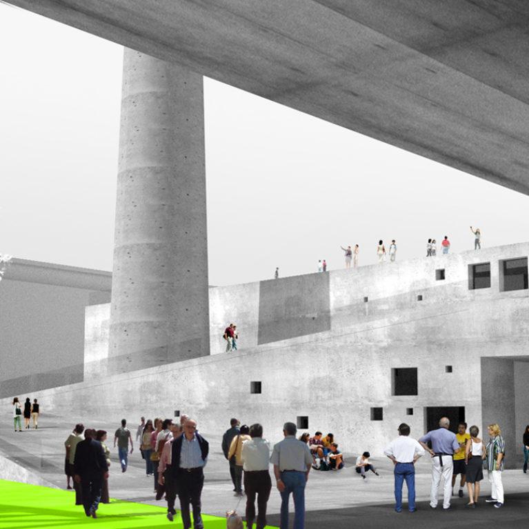 AQSO arquitectos office. La estructura de la antigua caldera se amplia con un edificio de apartamentos para cerrar una plaza pública con una rampa que asciende alrededor de la chimenea hasta la cubierta.