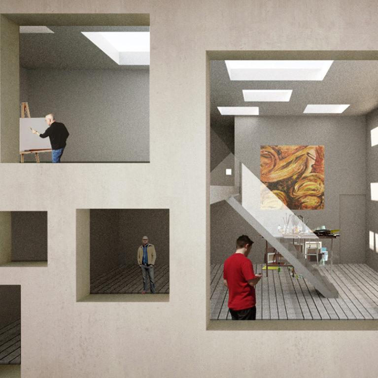 AQSO arquitectos office. Diseño conceptual de los estudios para artistas. Cada estudio cuenta con un espacio de doble altura que sirve como taller de pintura. La fachada tiene ventanas de diferentes tamaños.