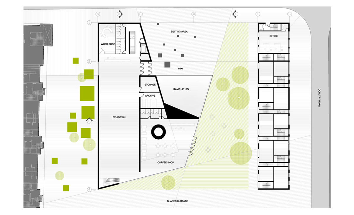 AQSO Boilerhouse studios, floor plan, technical drawing, distribution plans, entrance level