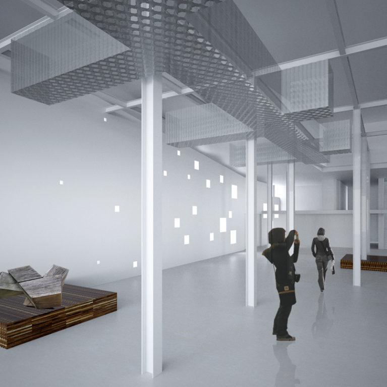 AQSO arquitectos office. La sala de exposiciones del centro cultural Boilerhouse ocupa la sala de calderas del antiguo edificio. El interior es un espacio neutro acabado en blanco con pequeñas ventanas.