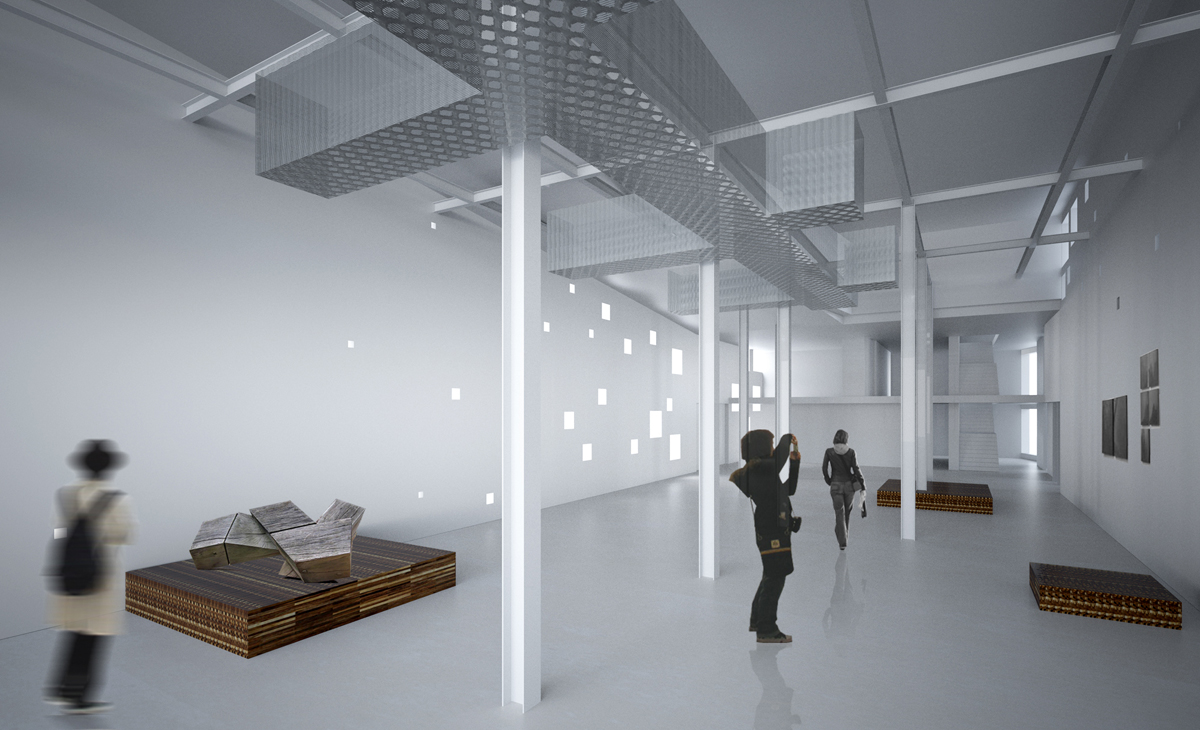 AQSO Boilerhouse studios, exhibition hall, metal structure, clear space, white interior