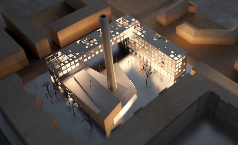 AQSO Boilerhouse studios, physical model, night view, light inside, aluminium, balsa wood, square, chimney, perforated facade
