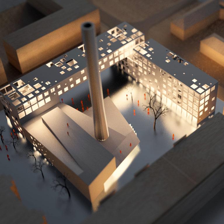 AQSO arquitectos office. Maqueta del edificio público multifuncioanl Boilerhouse con su fachada performada. La maqueta está hecha con madera de balsa, plástico y aluminio.