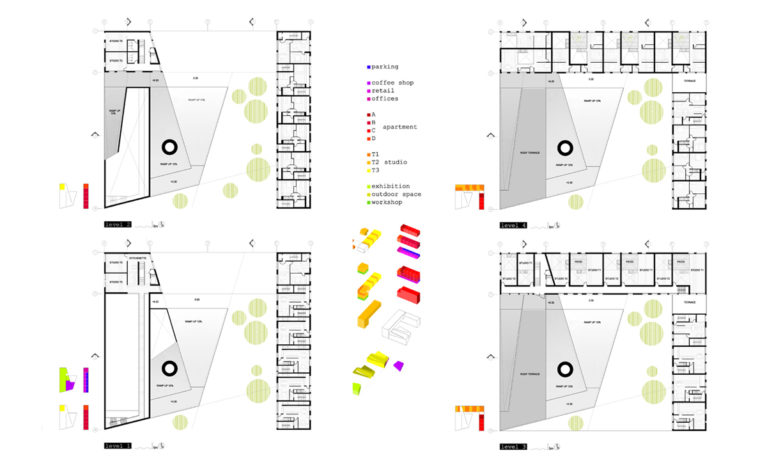 AQSO arquitectos office. The floor plans of this cultural building show the car park, cafeteria, shops, offices, flats, artists' studios and the exhibition hall.