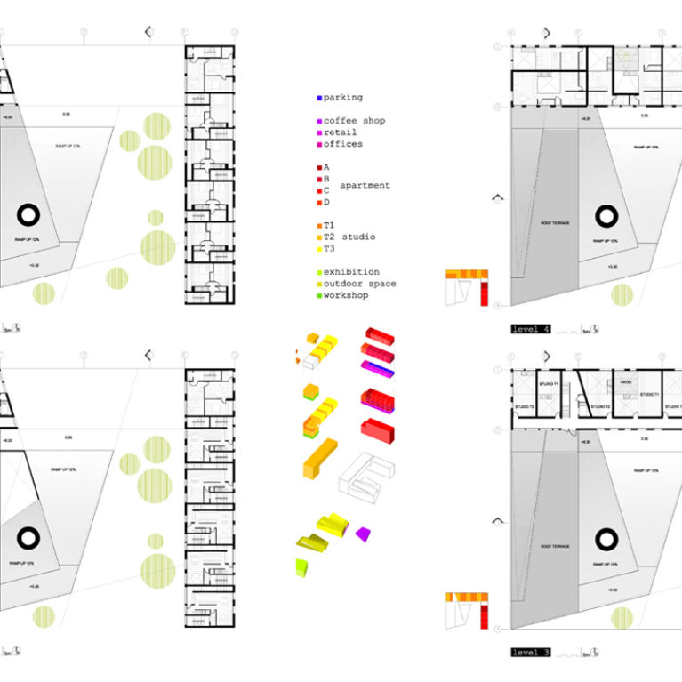 AQSO arquitectos office. Los planos de la planta de este edificio cultural muestran el aparcamiento, la cafetería, los locales comerciales, las oficinas, los apartamentos, los estudios de los artistas y la sala de exposiciones.