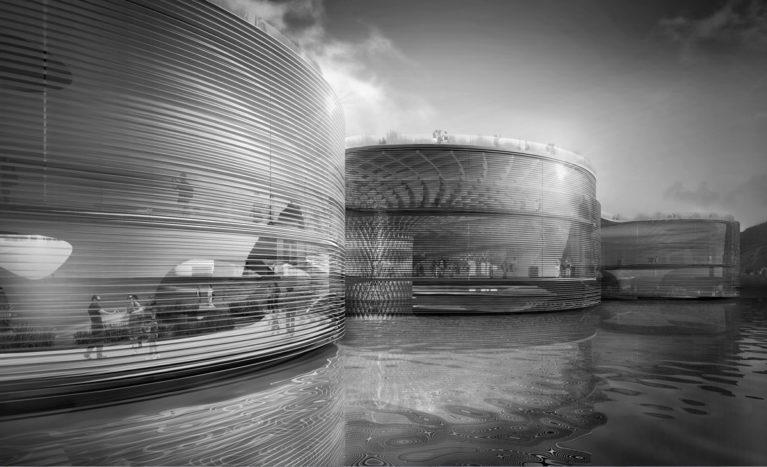 AQSO arquitectos office. Pabellón Wavescape, fachada con lamas horizontales, edificio flotante, transparencia