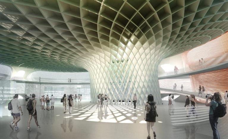 AQSO arquitectos office. Pabellón wavescape, interior, estructura acanalada, mega columna central. El interior del pabellón tiene una gran columna central que soporta la cubierta de aspecto fungiforme.