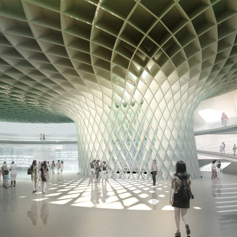 AQSO arquitectos office. Wavescape pavilion, interior, ribbed structure, central mega column. The interior of the pavilion has a large central column supporting the fungiform roof.