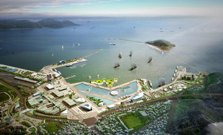 AQSO arquitectos office. Pabellón Wavescape, vista de pájaro, plano del emplazamiento, puerto deportivo. El pabellón ocupa una posición central en la bahía frente al lugar de la exposición temática.