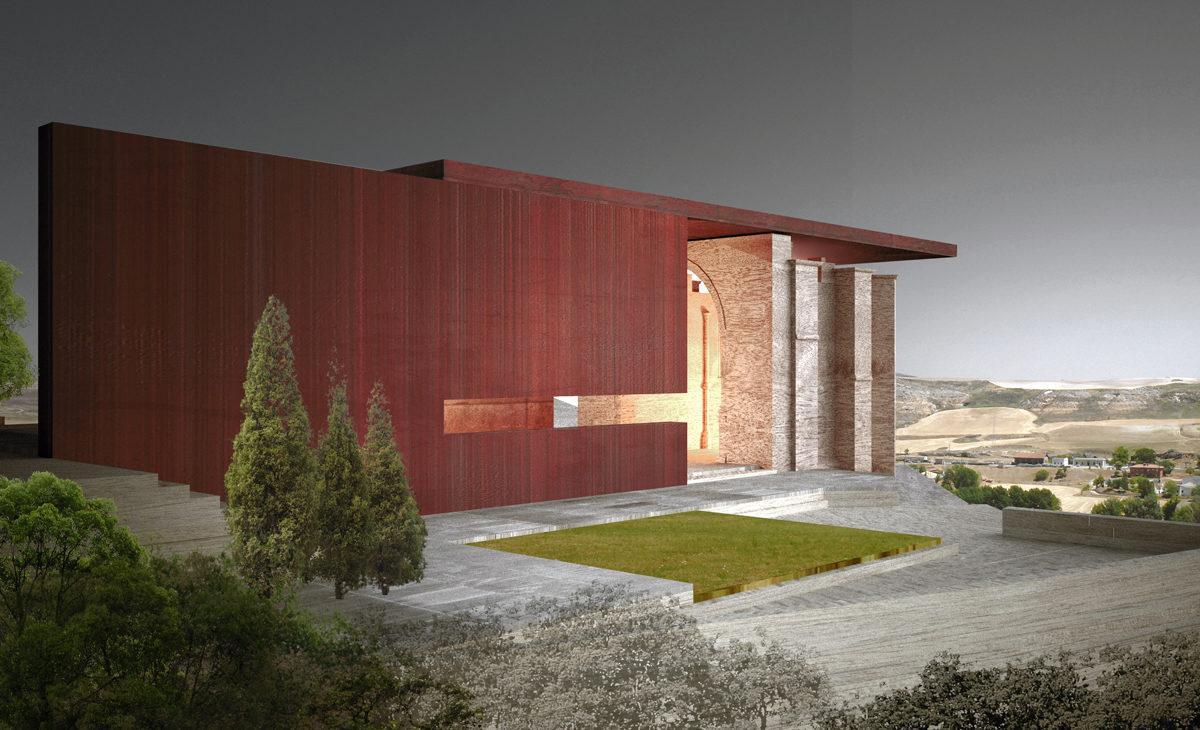 AQSO Atienza music hall, acero corten, restauración, estructura metálica, paisaje, Castilla la Mancha