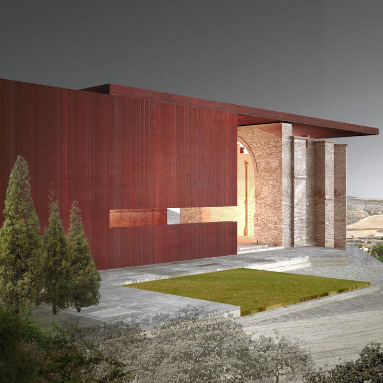 AQSO Atienza music hall, corten steel, restoration, metal structure, landscape, Castilla la Mancha