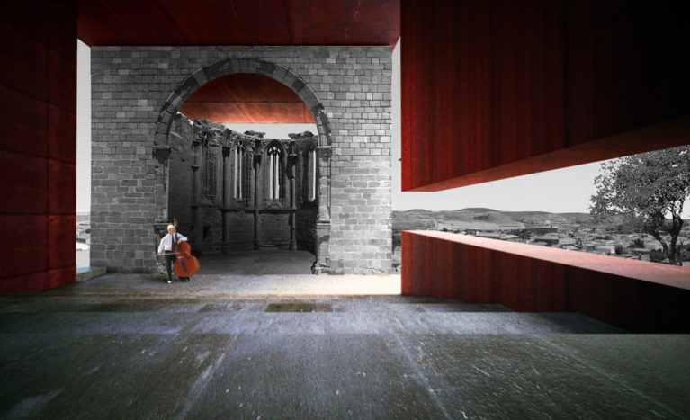 AQSO Atienza music hall, nave, auditorium, apse, landscape, corten steel, quiet, viewpoint, remains